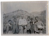 "On verso, Laurens wrote: ""Our Fifth Form picnic. Left to right, Garbis [Nevulafian] (Armenian), Mahmoud Khalid (Moslem), Hussein Sijan (Moslem), Omar Fayid (Moslem), Hovhannes Tabourian (Armenian)"""